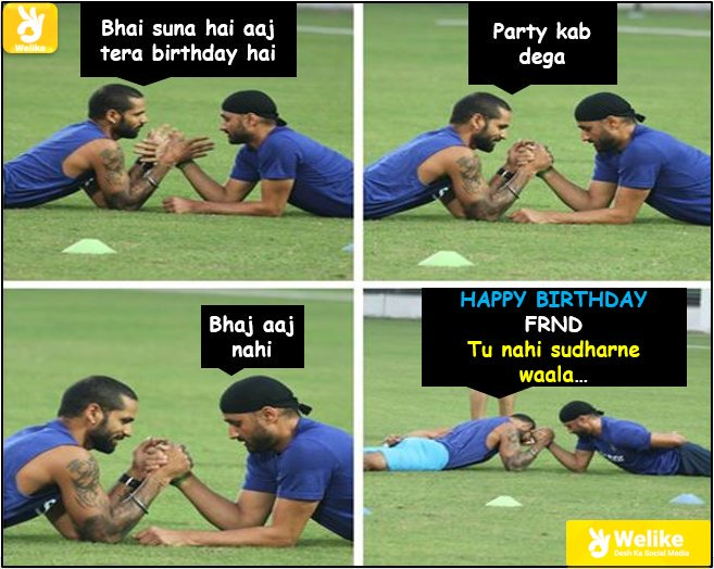 Dhawan says Happy birthday to bhajji...