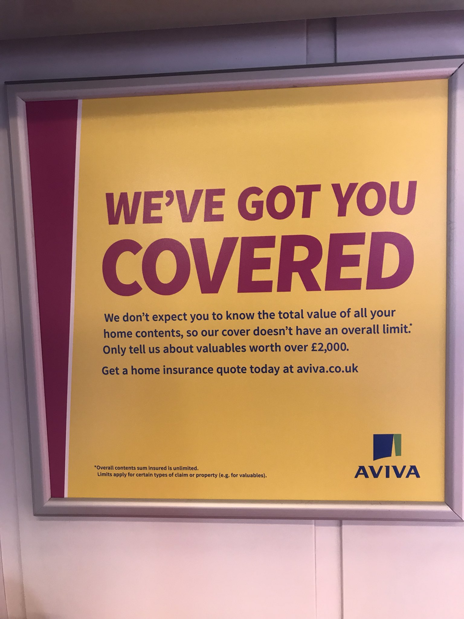 Farid Ul Haque On Twitter Love The Super Confusing Ad From Aviva On The Train We Don T Expect You To Know The Value Of Your Home Contents Only Tell Us About Valuables Worth