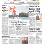 Image for the Tweet beginning: Page One today. #PhillyTerrorPlot #LifeguardShortage