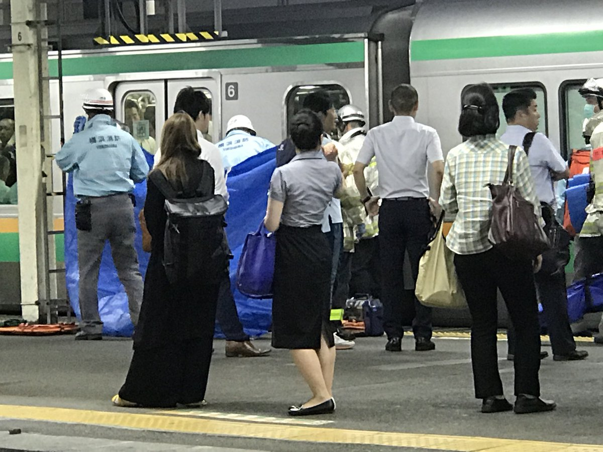 横須賀線の戸塚駅で人身事故の現場の画像