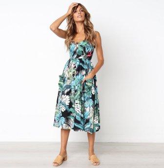 04ed59c2d61f Boho Floral Print Summer Dress Women V Neck Pockets Sleeveless Midi Dresses  Female Sunflower Pleated Backless Button Sexy Dress Discount Price  US   11.40 ...