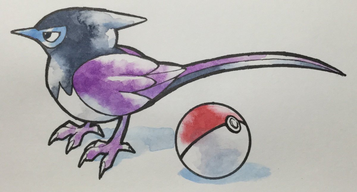 ポケモン風にサンコウチョウを描きました。