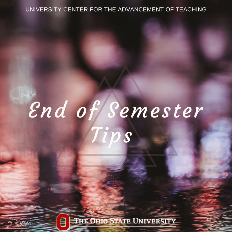 As this semester is winding down, plan ahead for next semester by organizing teaching materials you will use again. Remember also to jot down ideas for updates you'd like to make while they're still fresh in your mind. #UCATtips