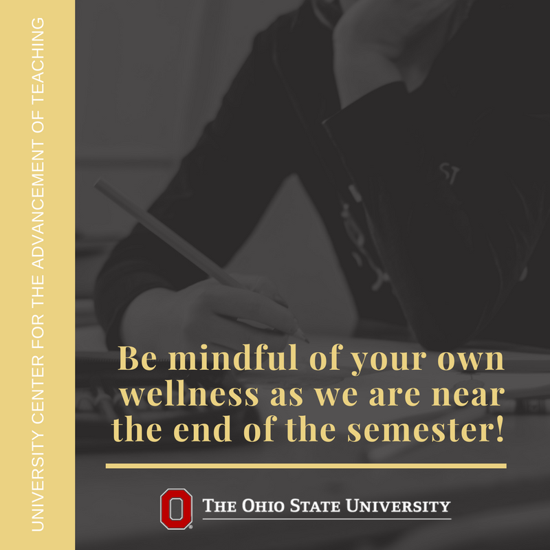 OSU's Student Wellness Center identifies 9 dimensions of #wellness. Make sure you are taking time to take care of yourself as you finish the semester and think ahead to spring.