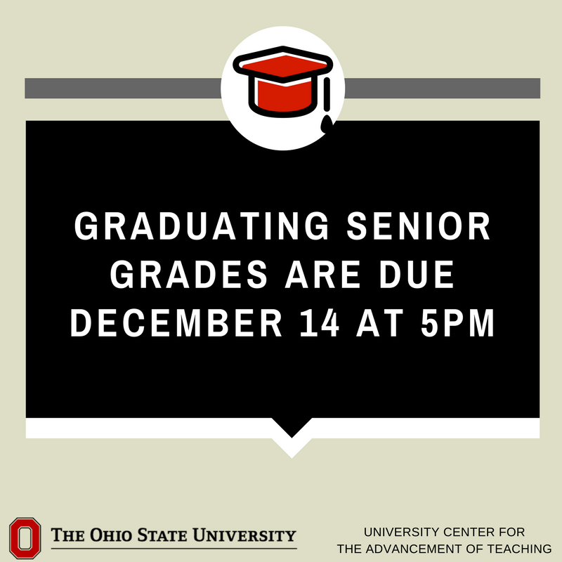 Graduating senior grades are due tomorrow by 5pm. Keep that motivation going!