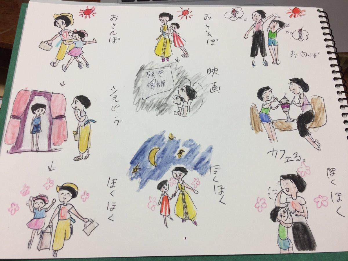 くんちゃんの「おかあさんと愉快な散歩」という絵。 おかあさんとやりたい楽しいことが描かれている(万引き家族見たいのね・・)