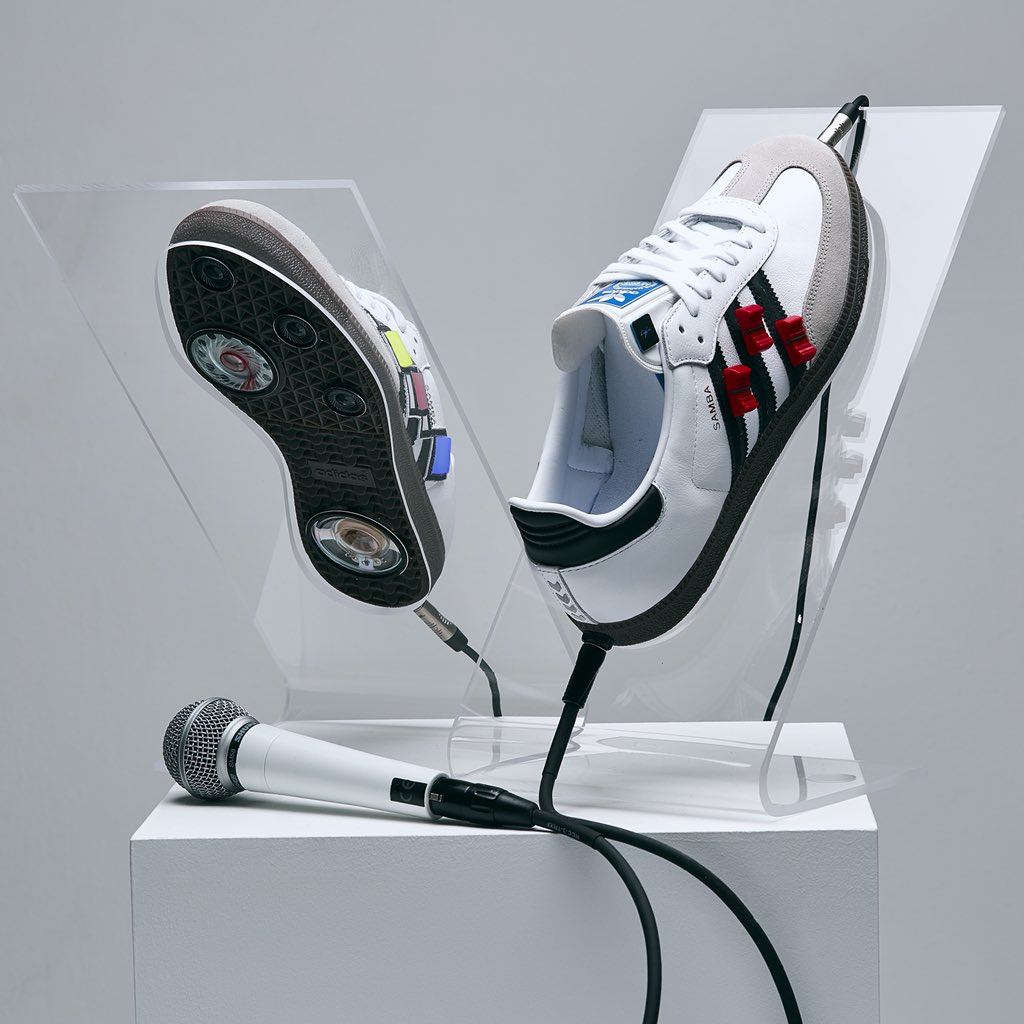 I designed these trainers to replicate a portable recording studio. For me music is such an important form of expression, not only does it encourage us artists to celebrate our individuality and diversity, it's also a great way to send out a message of love and support