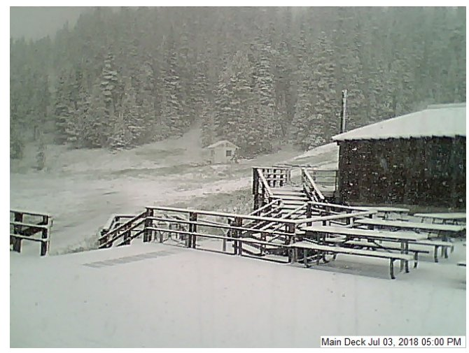 Yes...The date and time are accurate. Light accumulating snow in the Little Belt Mountains on July 3rd. Remember this image when we are approaching 100 deg F on Friday! Will it be a white 4th of July? (Image courtesy of Showdown Montana Ski Resort) #MTwx  #IndependenceDayInMT