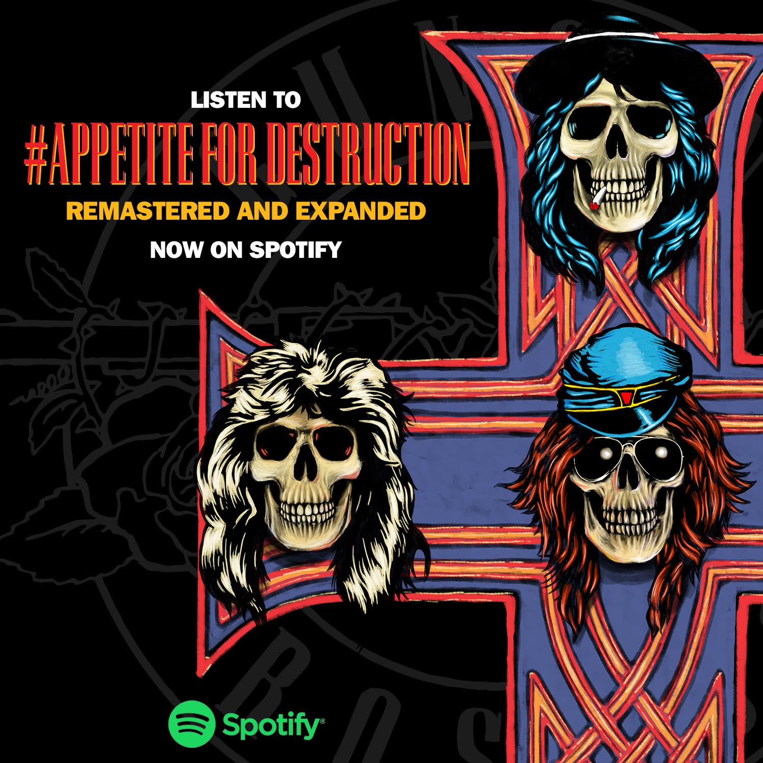 Listen to #AppetiteForDestruction: Remastered and Expanded. Now on Spotify here: https://t.co/gClA43eMxy https://t.co/N37MMCnxL1