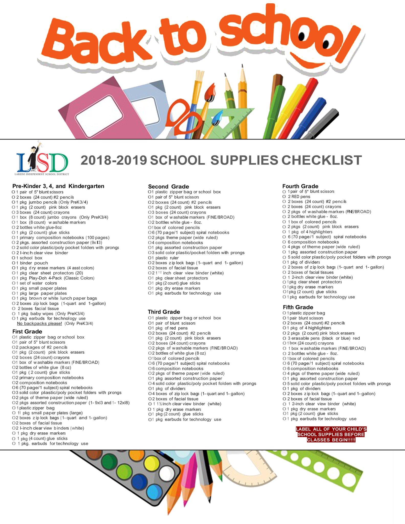 """Laredo ISD on Twitter: """"LISD's 2018-2019 School Supplies ..."""