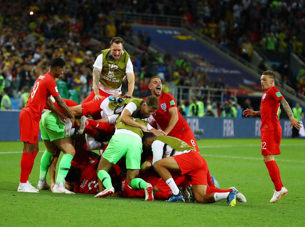 Para pemain timnas Inggris merayakan kemenangan atas Kolombia pada babak 16 besar Piala Dunia 2018, Rabu (3/7/2018) waktu setempat atau Kamis dinihari WIB.