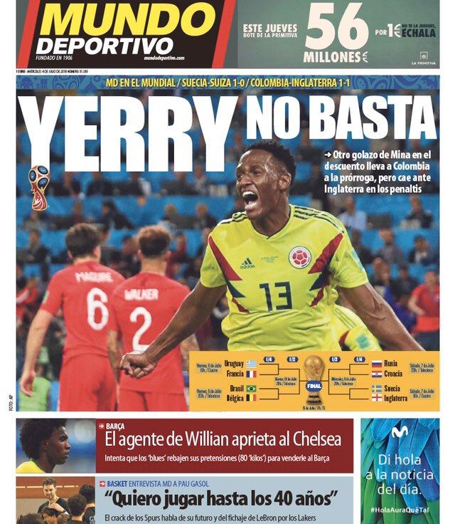new arrivals 8ec31 57a44 Mundo Deportivo njuter främst av att Barçaspelaren Yerry Mina gjorde  ytterligare ett mål för Colombia. Inne i tidningen kan man man från den  andra ...