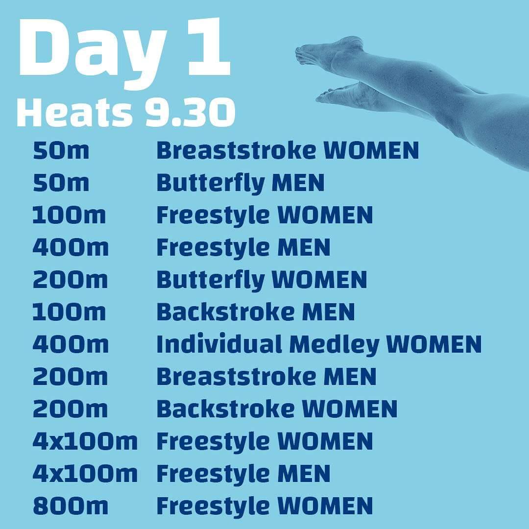 Dag 1 van de EJK 2018 gaat zo van start. Rosey Metz start in het allereerste programmanummer 1 op de 50m schoolslag. Succes Rosey! #wvz #EJC2018 #swimming @KNZBned