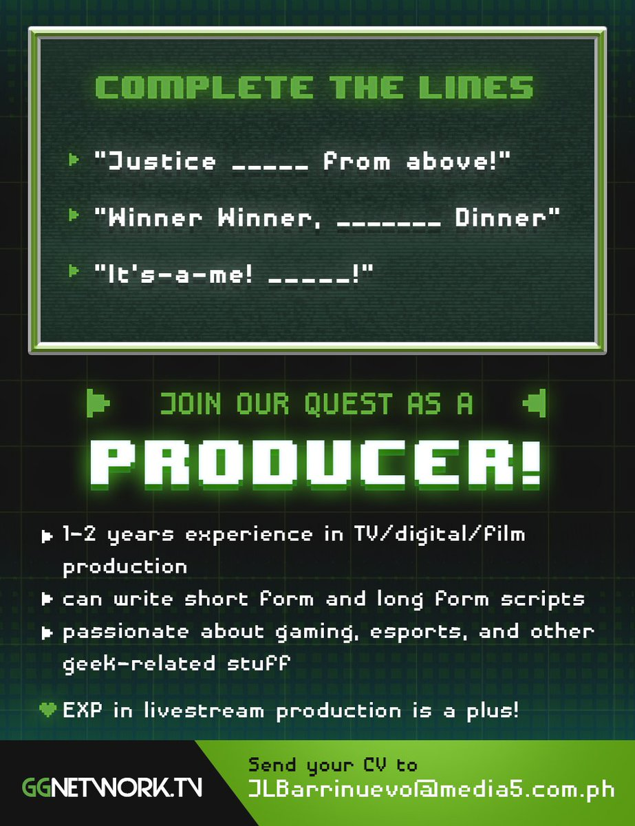 This is your chance to be a part of the awesome D5 Studio family! #MayOpeningBaDiyan 😎  GG Producer - JLBarrinuevo@media5.com.ph D5 Studio Producer - MCSalas@media5.com.ph D5 Studio Production Lead - MSZamesa@media5.com.ph