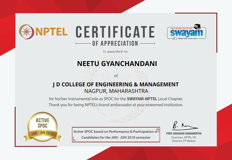 Jd Coem On Twitter Nptel Certificate Of Appreciation Is Awarded