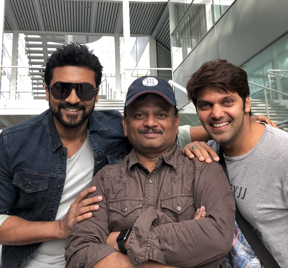 Arya with Suriya and KV Anand