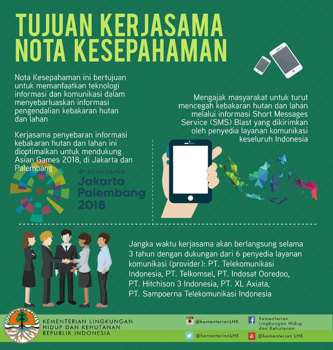 2. Kerjasama yg dilakukan oleh @KementerianLHK & @kemkominfo ini bertujuan memanfaatkan teknologi informasi dan komunikasi dlm mengajak masyarakat turut cegah kebakaran hutan dan lahan dalam rangka #DukungAsianGames2018 di Jakarta dan Palembang  Ayo cegah kebakaran hutan & lahan.pic.twitter.com/0hpmMmoPBY