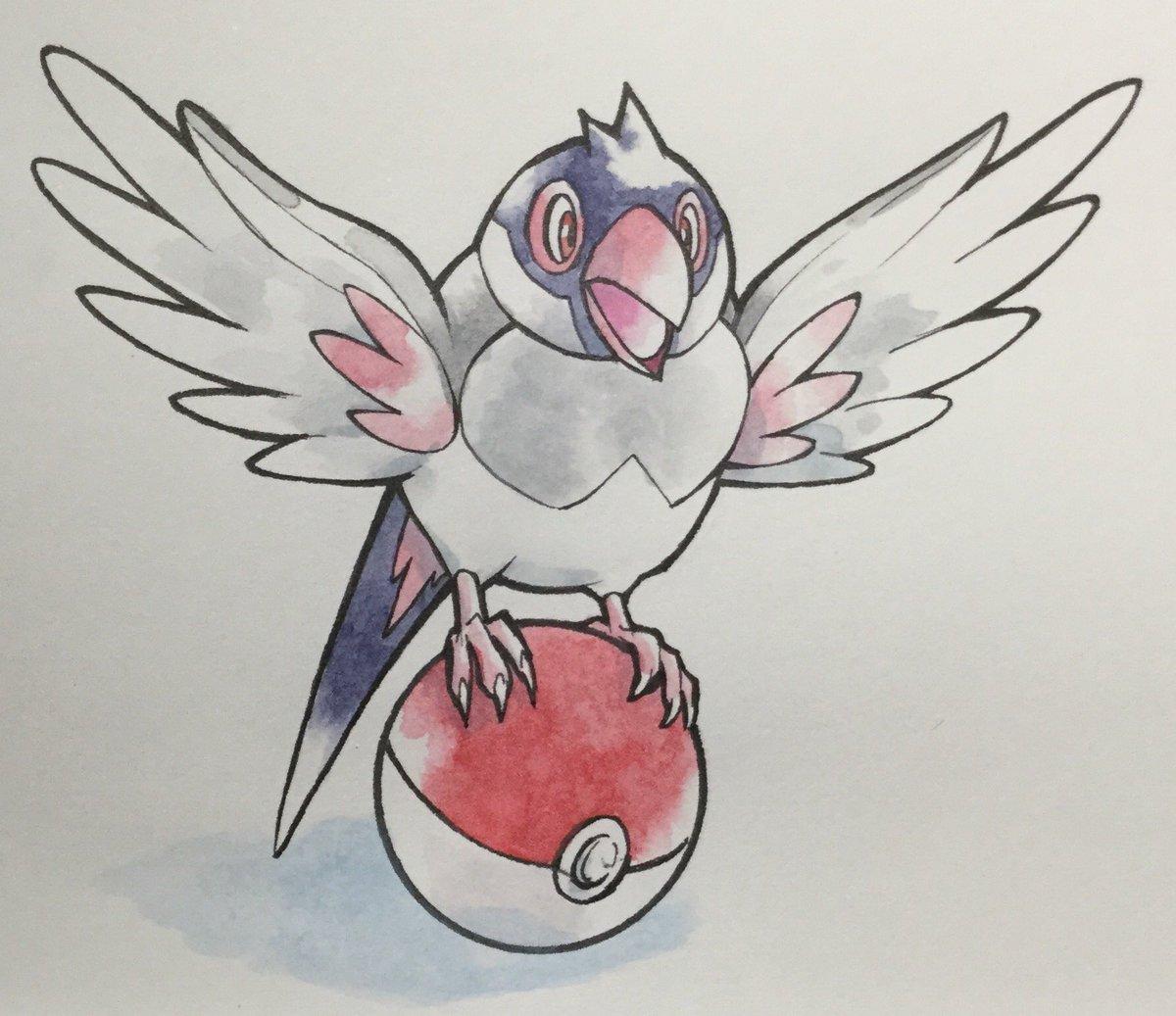 ポケモン風に桜文鳥を描きました。