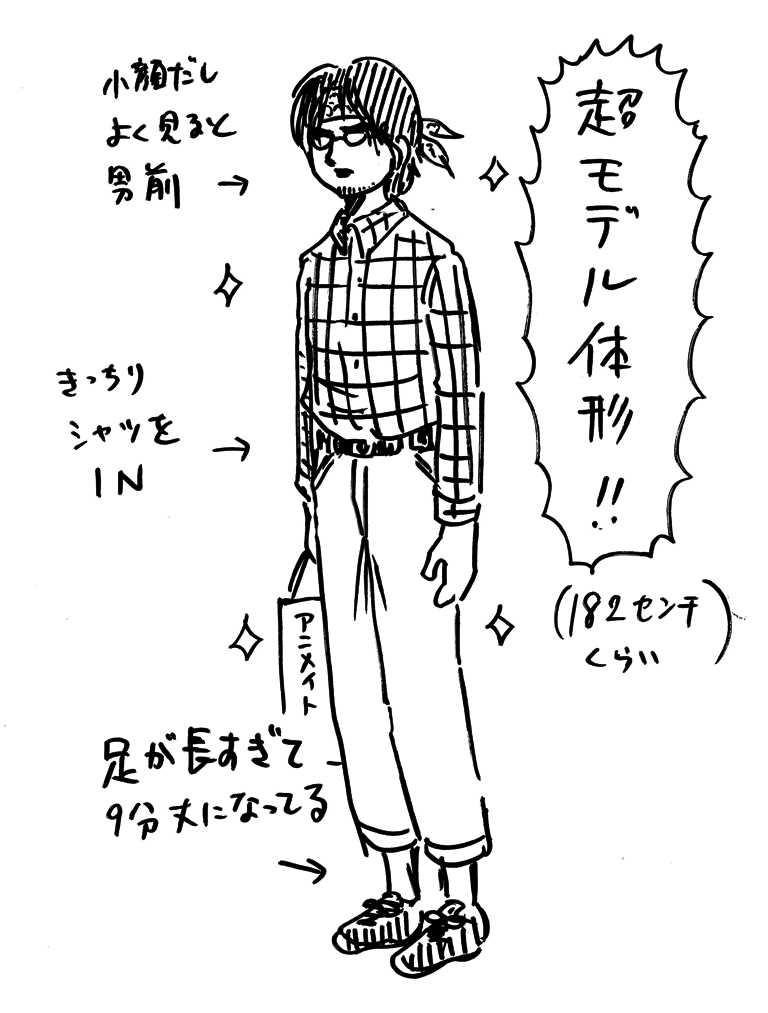 何年か前に新宿で見かけて強烈なインパクトを受けた青年。(そして漫画の主人公のモデルに使ったという…)
