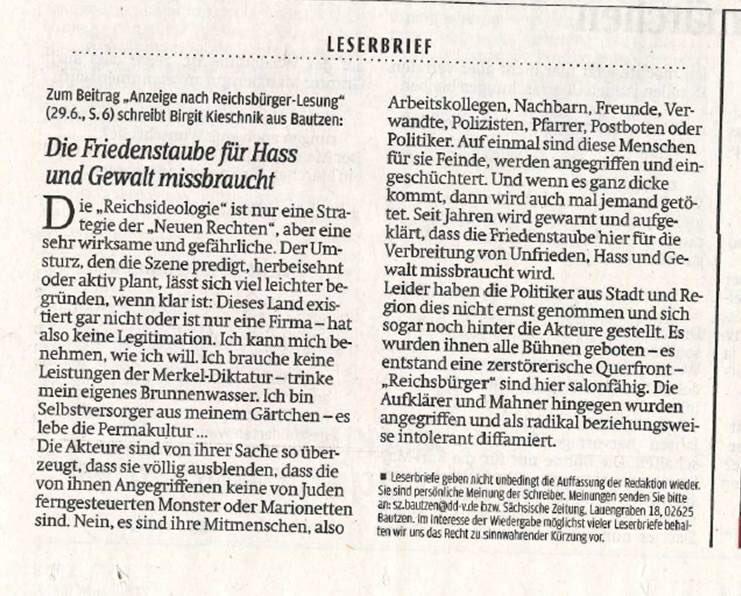 Claus Gruhl On Twitter Leserbrief Von Birgit Kieschnik Da