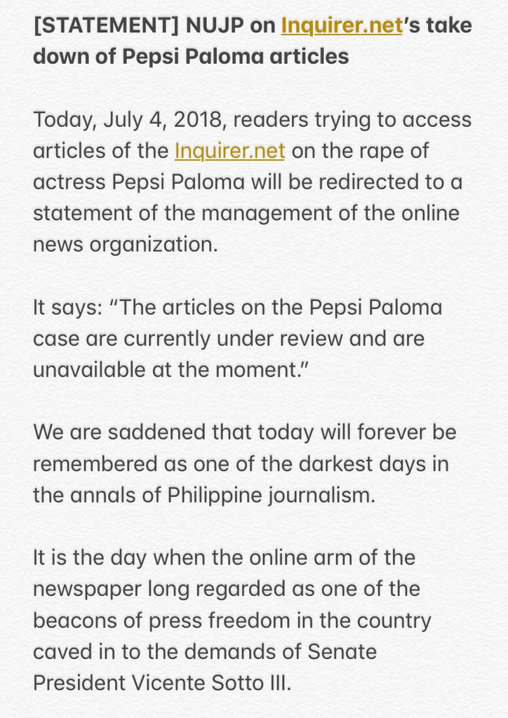 STATEMENT  NUJP on  inquirerdotnet s take down of Pepsi Paloma  articlespic.twitter.com svviHvxdjZ 937e2da37cde