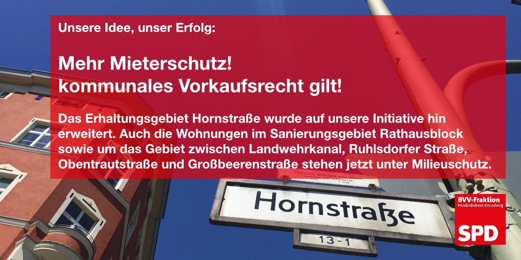 #Milieuschutz, #Vorkaufsrecht, #Hornstraße, #Rathausblock, #RuhlsdorferStraße #BVVXhain https://t.co/rP6zfOXSls