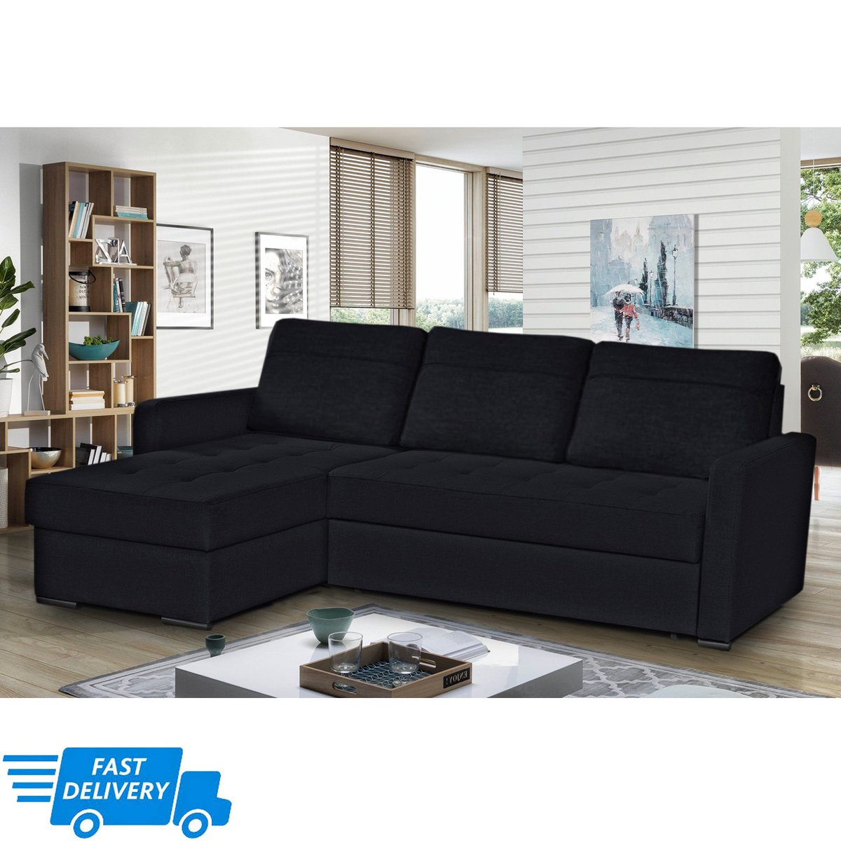 ... Delivery 2/products/barty Modern Corner Sofa  Bed With Storage And Pull Out Bed Black Faux Leather 220x160cm U2026