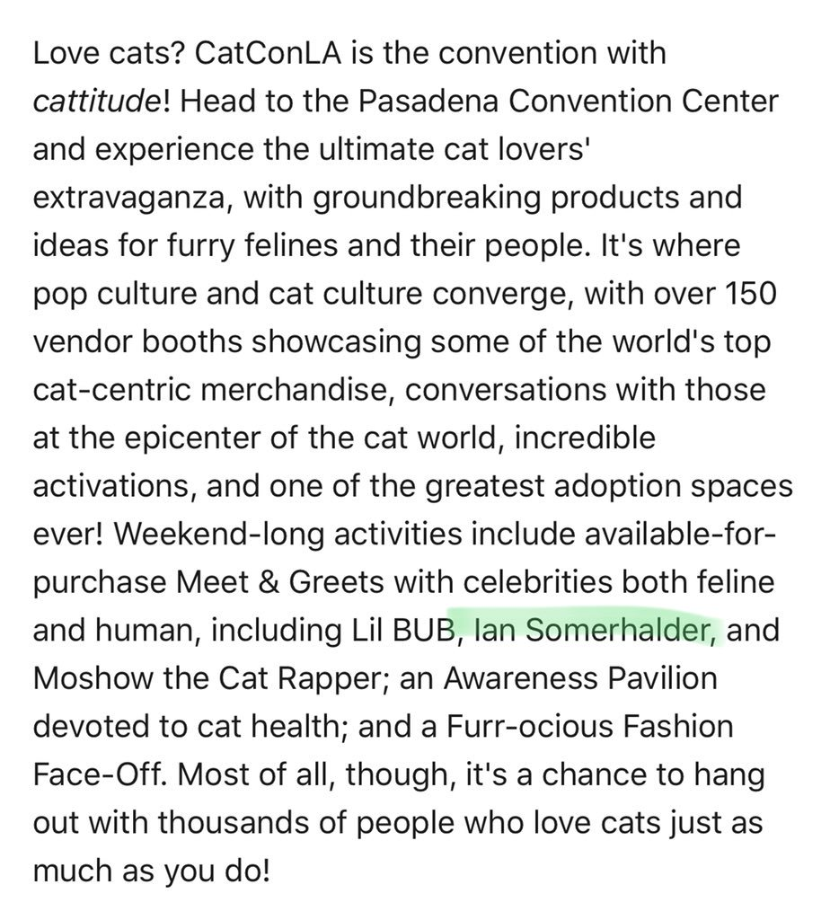 There's a CatCon in LA coming up, and can someone please explain this Meet & Greet?