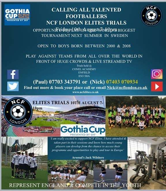 Any aspiring player in North London needs to register for @NCF_Elites trials, great coaching and oppurtunities. And maybe.....I'll see you soon