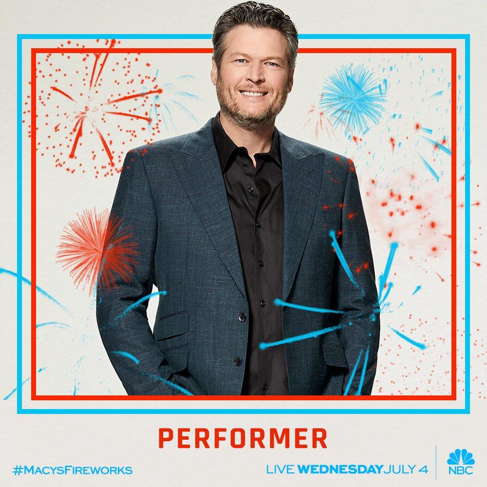 Tonight's the night! Don't miss Blake's #MacysFireworks performance on @nbc ! �� - Team BS https://t.co/sfLSPVblCq