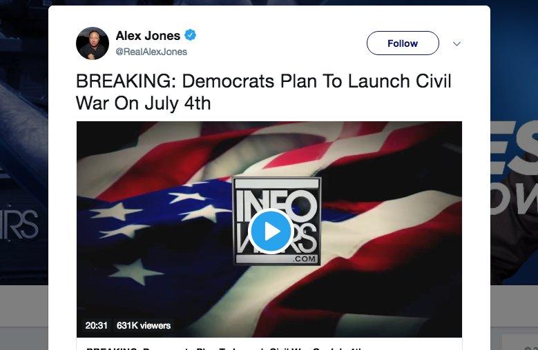 efe76cd4b3f0 Alex Jones claims Democrats plotting to launch Second Civil War on July  4th