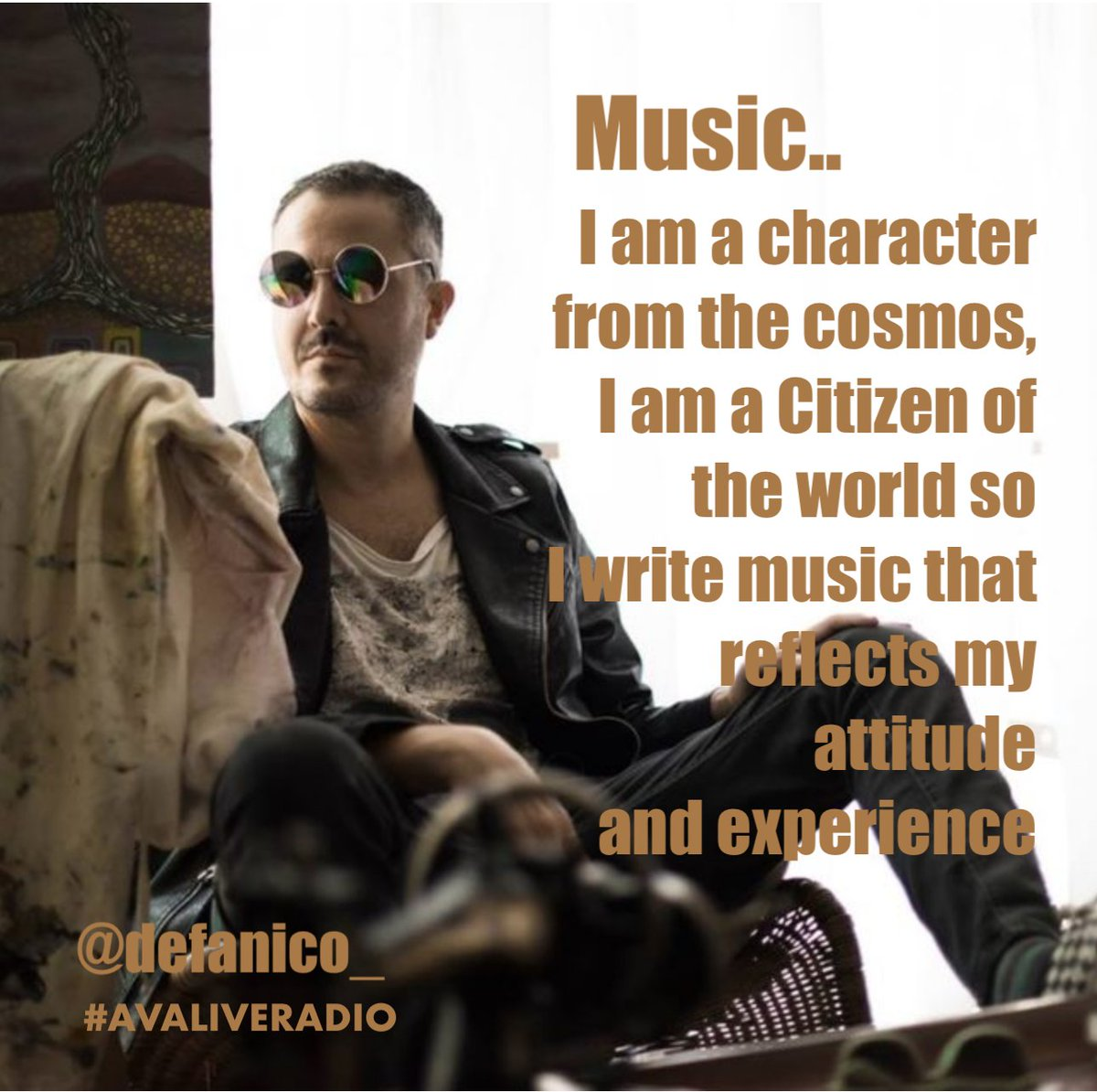 My music is universal and honest. I am a character from the cosmos, I am a Citizen of the world so i write music that reflects my attitude and experience. Music to me is wide open possibilities.   @DEFANICO  #independantmusic #musicmaker #musicproducer #musicproducerslife<br>http://pic.twitter.com/t0QB9Bvqz5