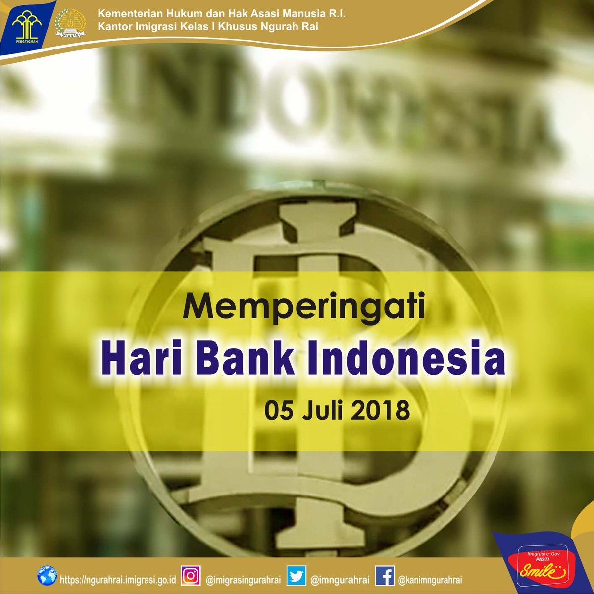 Hai sobat Mido Midi,  Tau ga tgl 5 Juli diperingati sebagai hari apa? Yap, betul Hari Bank Indonesia.  . Selamat Hari Bank Indonesia! Semoga perbankan nasional semakin maju dan mampu mendorong kesejahteraan masyarakat. . #imigrasingurahrai  #imigrasi #haribankindonesia