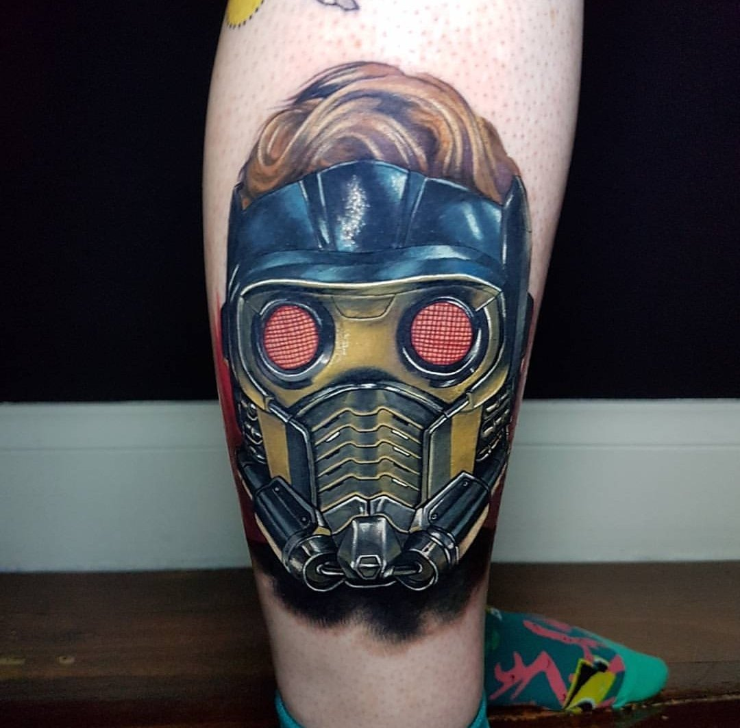 #Tattoo Awesome of the Day: Colorful Guardians of the Galaxy 2 Star-Lord Mask Leg Piece via @poeticandvague #SamaTattoo #SamaGeek #GotG