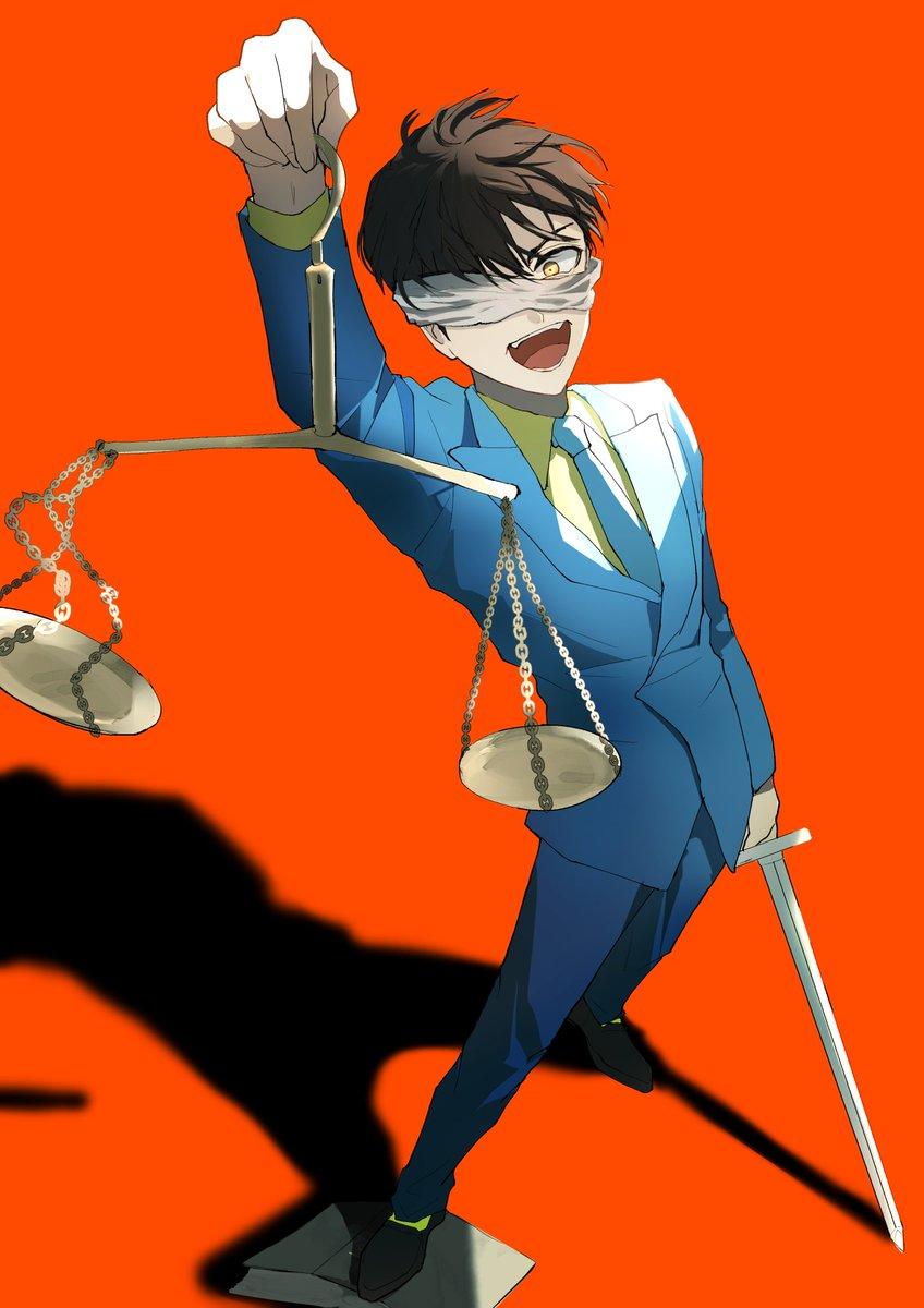 揺らす天秤 正義は彼のさじ加減  弁カラ描いてみたくてモチーフ足してったら 弁護士にあるまじき構図になっていました