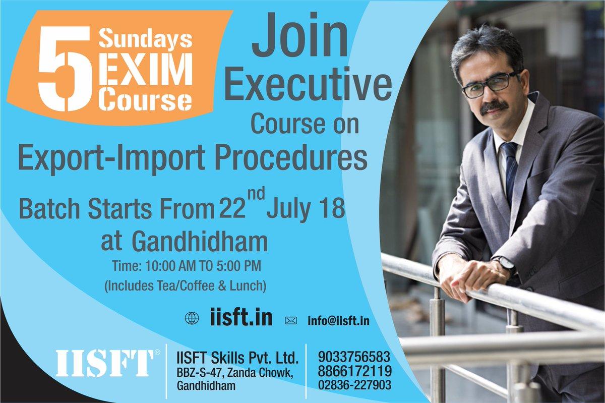 @IISFT Join Export-Import Executive Course (5 Sundays).  #IISFT #ImportExportCourse, #Gandhidham, #Gujarat, #ExportImportCourse #GovernmentApprovedShippingCourses #LogisticsSkillCouncil #LSC #LSCShippingCourses #ShippingCoursesLSC  #Gujarat https://t.co/JWLEZqGZWc