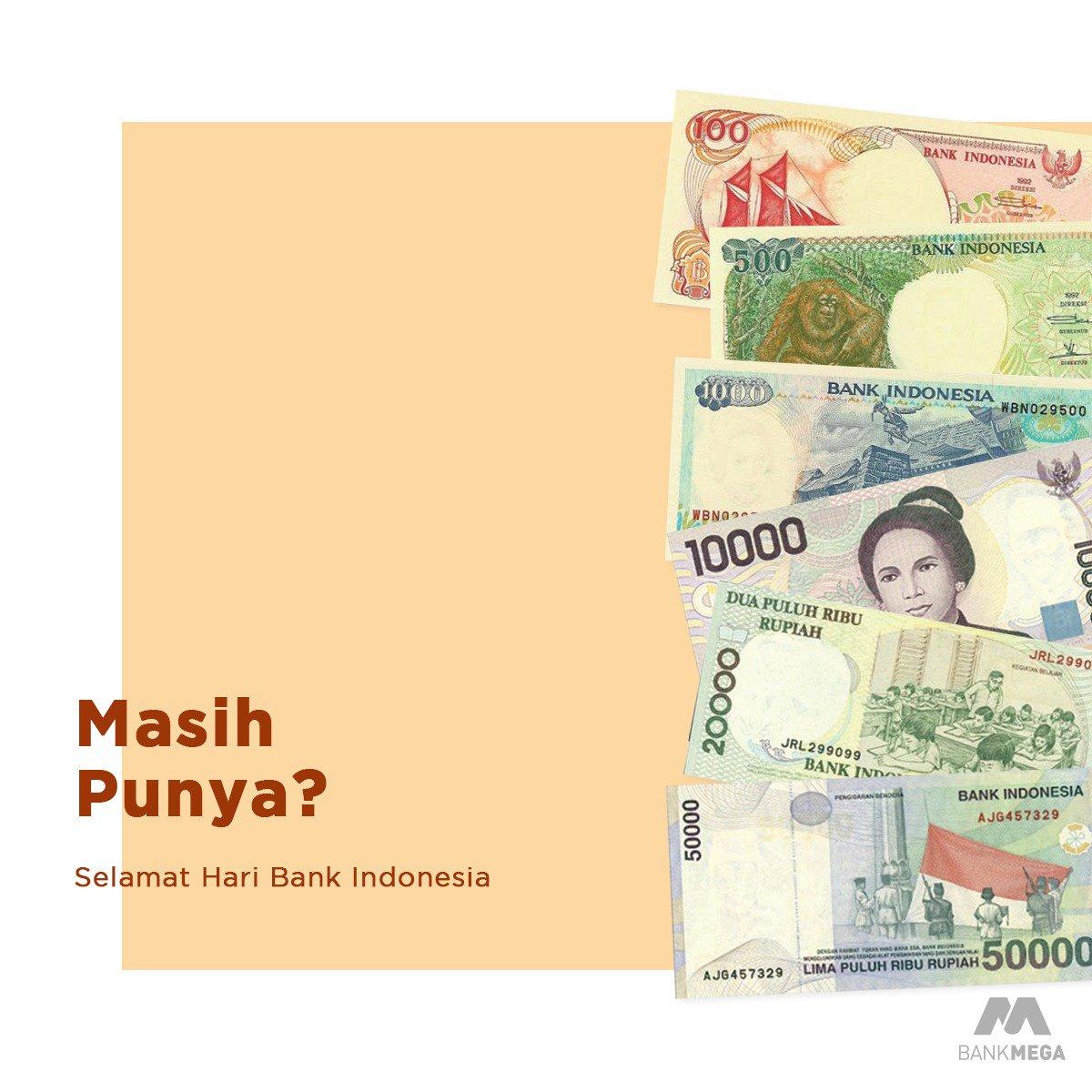 Selamat hari Bank Indonesia. Sebagai bank sentral, BI pernah merilis pecahan uang rupiah seperti pada gambar yang kita gunakan sekitar tahun 90an. Dari gambar di atas tersebut, pecahan uang rupiah mana yang masih Anda miliki? Komen di bawah ya!  #BankMega #HariBankIndonesia