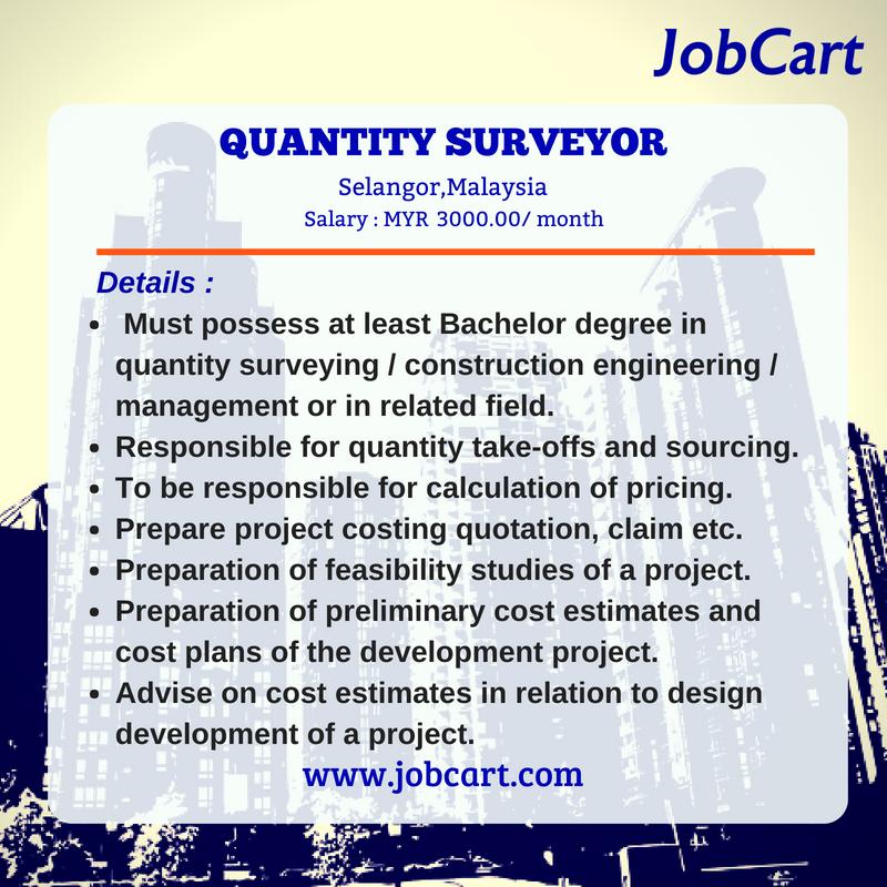 Jobcart On Twitter Vacancy Quantity Surveyor Fresh Graduates In Selangor Salary Myr 3 000 00 Month To Apply Https T Co Nlvnjwrrba Job Careers Twt Iklankerja Jawatanmalaysia Oh Kerjakosong Twt Kerja Twt Penganggur Twt Utm Haikerja