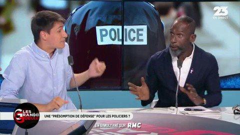 Le ton monte entre  @DICKENSDAVID1 et @MaximeLledo autour de la 'haine anti-flic', en France #GGRMC https://t.co/2pkQwQIQph