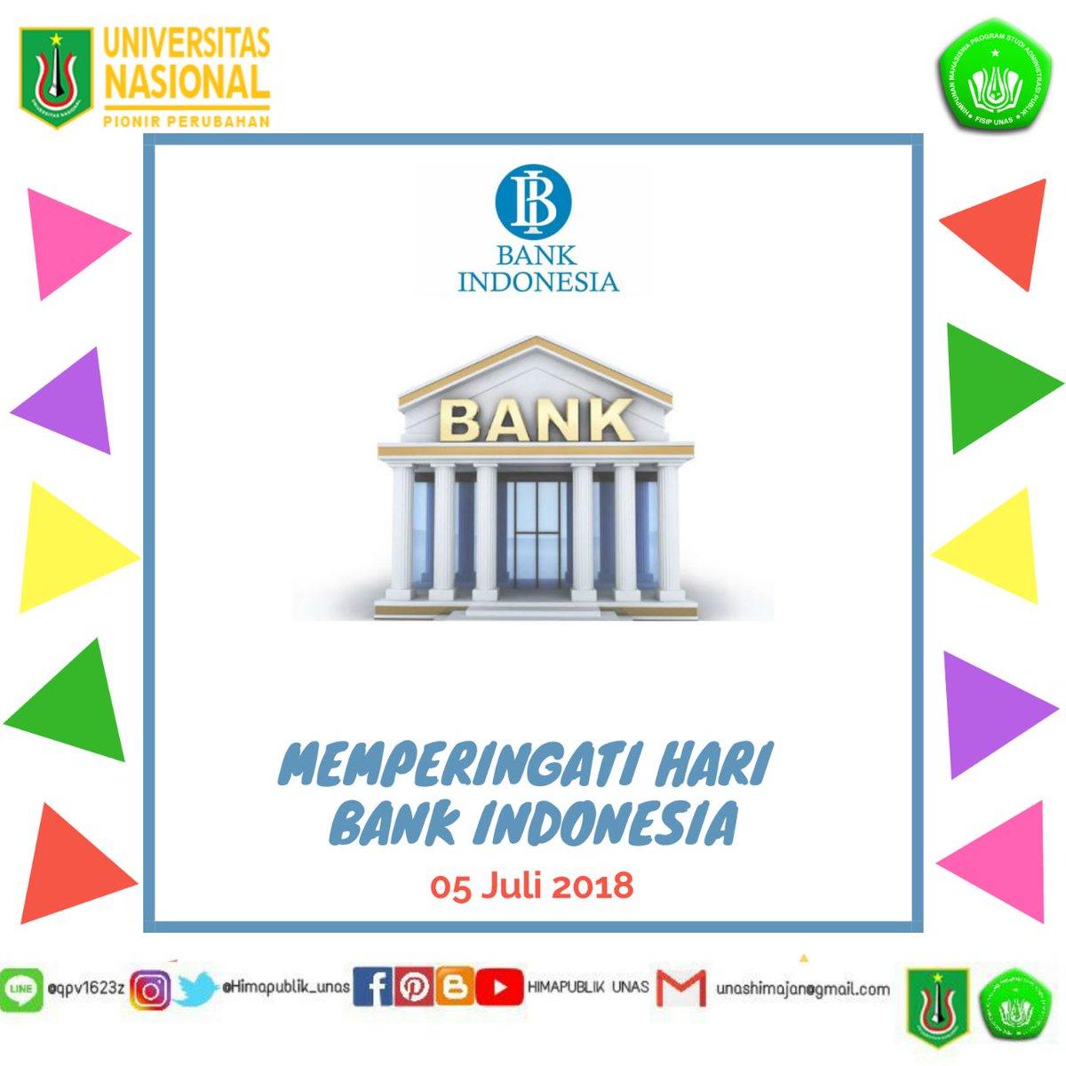 [05 Juli 2018]  💰 Selamat Hari Bank Indonesia 💰  Sejak tahun 1999 Bank Indonesia telah menjadi bank sentral yang Independen.  Maju terus perekonomian dan perbankan Indonesia!  #HariBankIndonesia #BankIndonesia #Himapublik