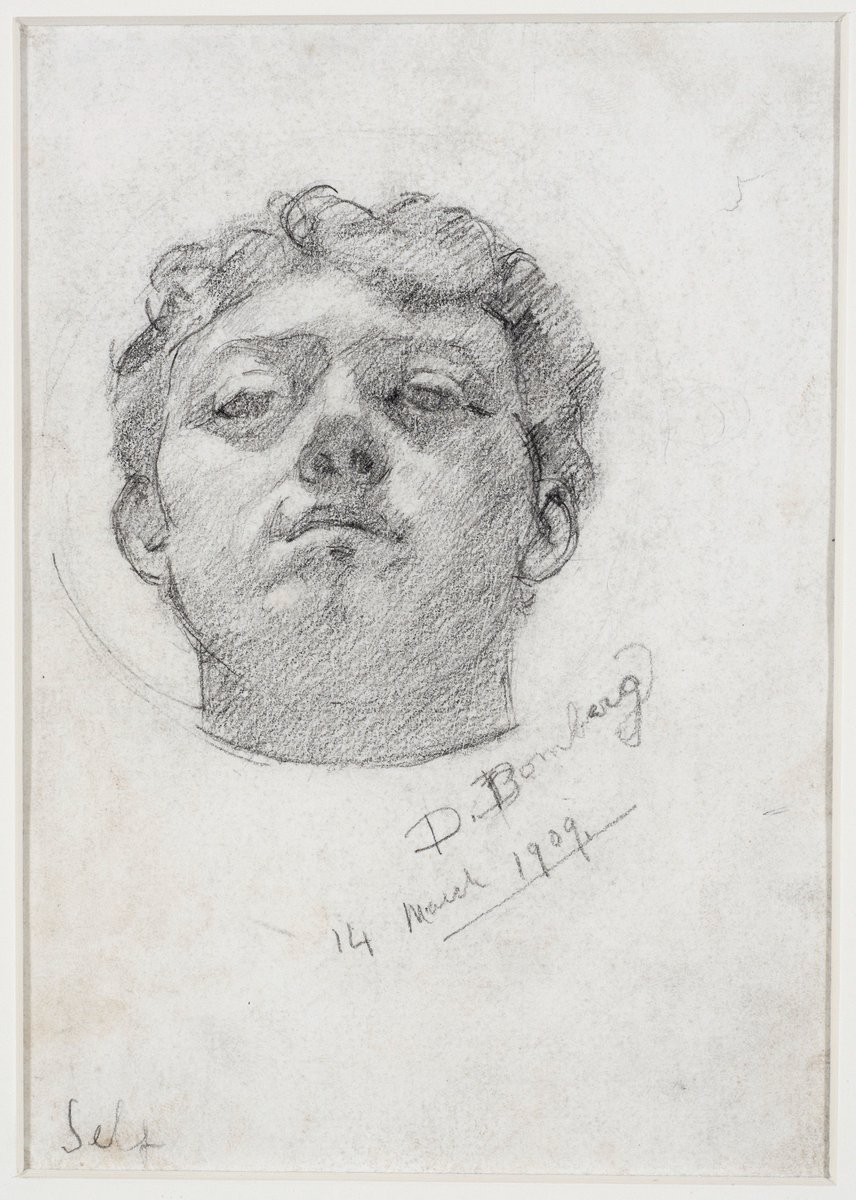Just 1 of 40 great reasons to visit the David Bomberg exhibition this weekend! #Bomberg, Self-portrait, 1909, Pencil on paper, Private Collection, © The estate of David Bomberg, the Bridgeman Art Gallery (Photography © Justin Piperger).