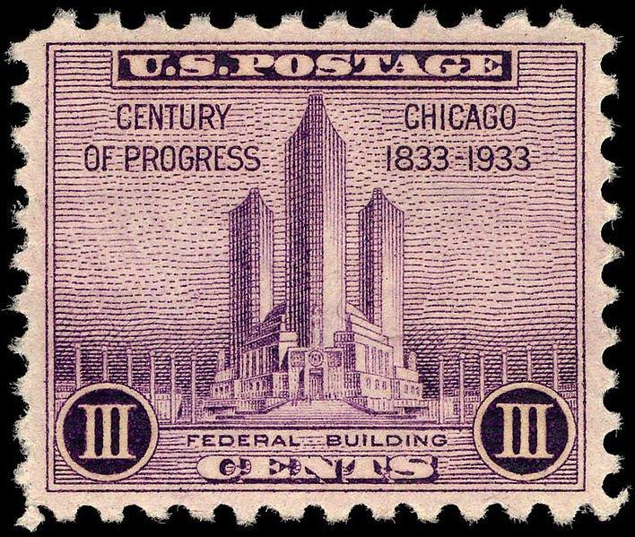 Worlds Fair, Century of Progress 3 cent stamp. #souvenir #stamps #worldsfair #centuryofprogress #artdeco #chicago #artdecochicago #postage #uspostoffice #vintage