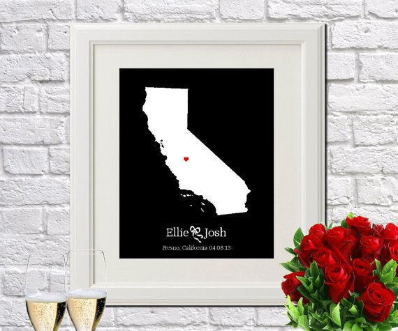 5943b3240 Custom Wedding Gift for Couple Personalized Bridal Shower Gift for Bride  Gift for Engagement Gifts for Couple Gift for Husband California by.