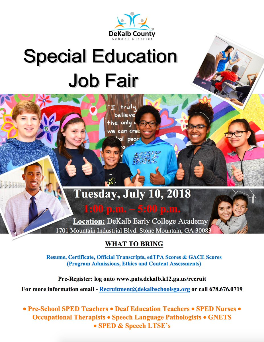 """DeKalb Schools, GA on Twitter: """"Attend our #JobFair for Special Education  related roles next week Tuesday, July 10th starting at 1pm ..."""