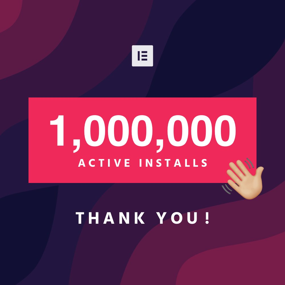 test Twitter Media - 🍾⚡️🎉 1,000,000+ Active Installs ⚡️🎉  Thank you for supporting our project and sharing our vision We ❤️ you so much  This is just the beginning, we plan to push forward until every WP user knows there's no better way to design than Elementor  👉 https://t.co/noTqG4PqXA 🙌 https://t.co/sVAHd8TCNW