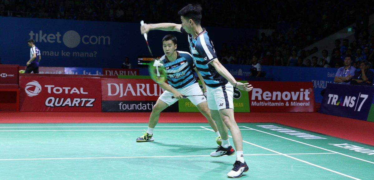 Pasangan ganda putra Indonesia, Marcus Fernaldi Gideon/Kevin Sanjaya Sukamuljo bertanding di Indonesia Open 2018.