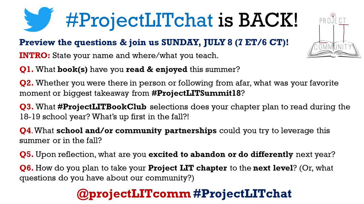 Our #ProjectLITchat returns SUNDAY night! 7 ET/6 CT. ALL are welcome! 📚💙