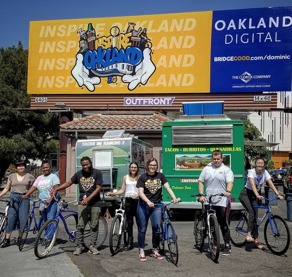 BREAKING: #OaklandDigital launches #InspireOakland 2018 campaign! Student artwork proudly featured on billboards, benches, and buses throughout #Oakland &amp; #EastBay!! Yes, creativity is alive, thriving, and inspiring community!!! #BRIDGEGOOD | Together,  http://www. bridgegood.com  &nbsp;  <br>http://pic.twitter.com/fq6F0d5i4s