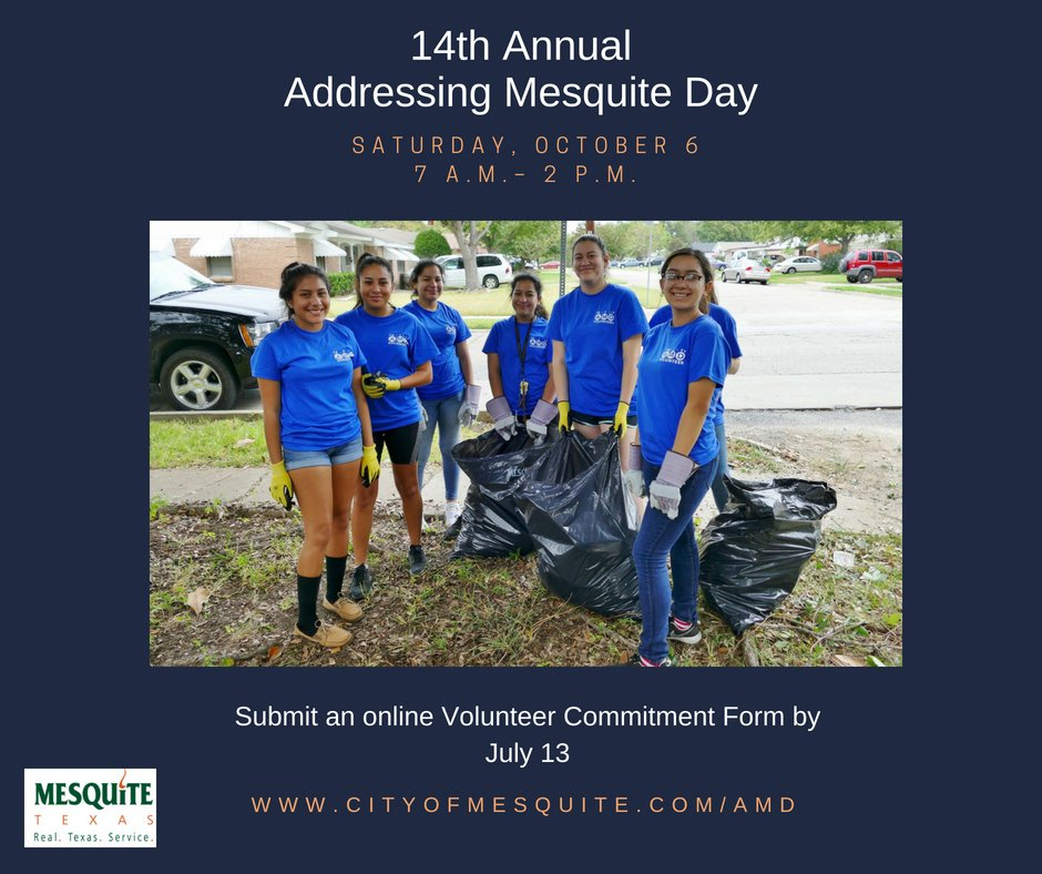 the deadline to sign up has been extended to july 13 individuals groups can submit an online volunteer commitment form at httpcityofmesquitecomamd