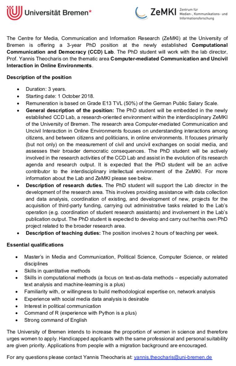 httpswwwuni bremendeenuniversitythe university as an employerjob vacanciesdetails job vacanciesjoblistjobshow1 x 05 wissenschaftliche r - Uni Bremen Online Bewerbung